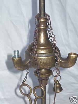 Antica Soffitta: Lampada ad olio fiorentina 4 fiamme in ottone ...