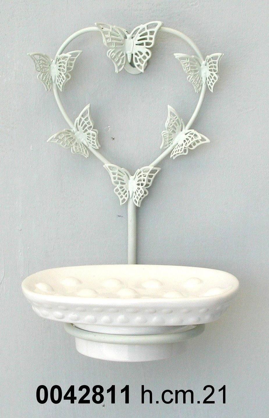 Antica soffitta porta sapone ferro ceramica farfalle - Porta per soffitta ...