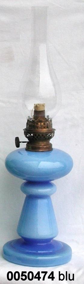 Lampada lume petrolio blu alto olio vetro lanterna vintage
