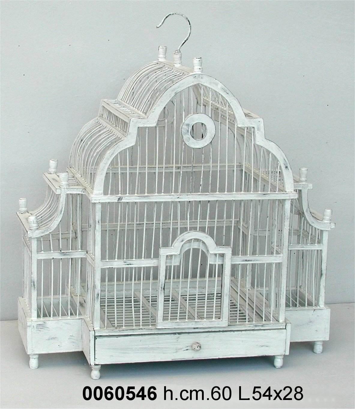 Antica Soffitta: Gabbia per uccelli decorativa 60cm shabby chic ferro legno