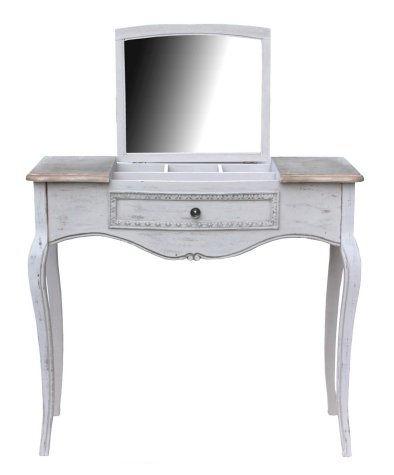 Antica soffitta toletta con specchio scrittoio legno bianco mobile consolle shab - Toletta con specchio ...