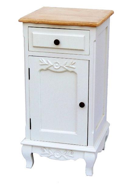 Antica soffitta comodino bianco con top rovere shabby - Mobiletto shabby chic ...