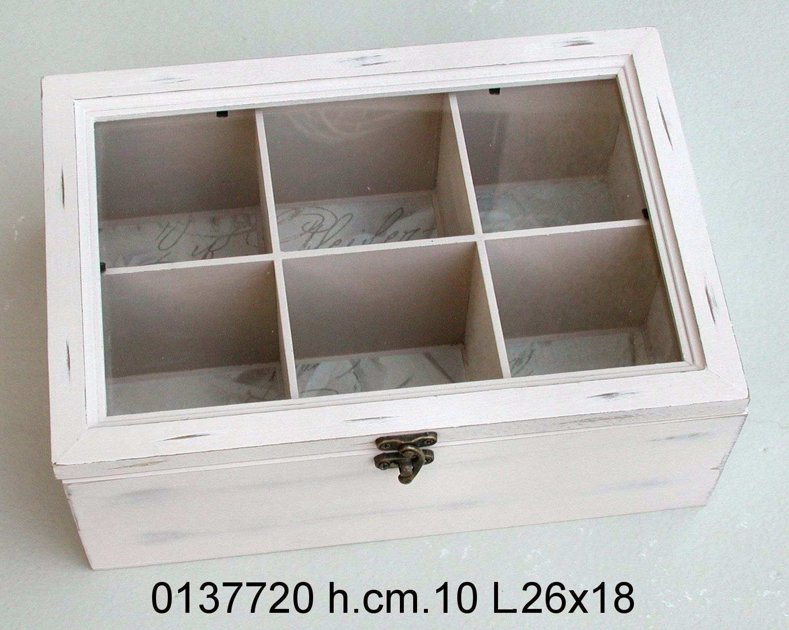 Antica soffitta scatola porta the t legno cuori sei posti tisane shabby chic - Porta per soffitta ...