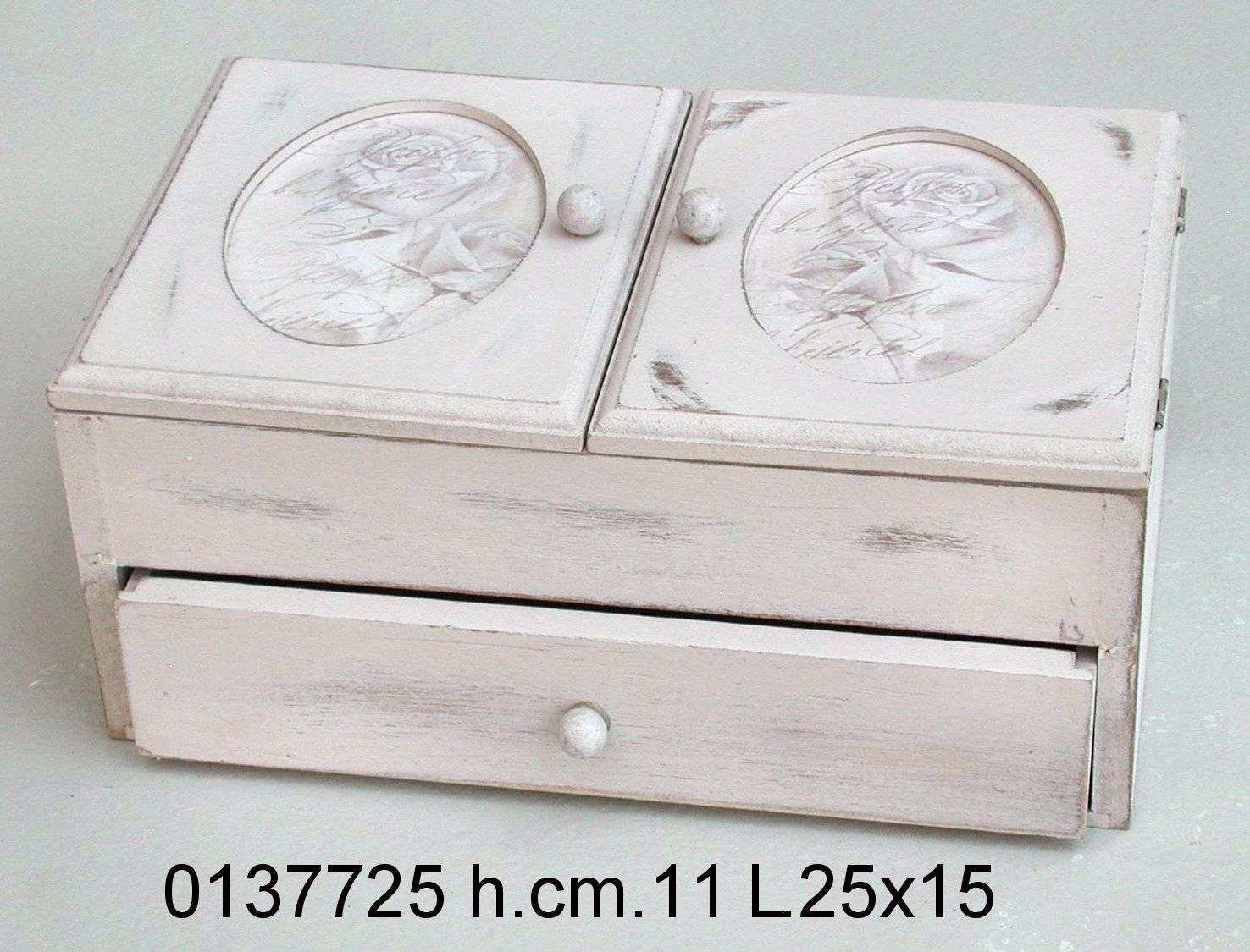 Antica soffitta scatola porta cucito lavoro legno rose - Scatola porta the ...