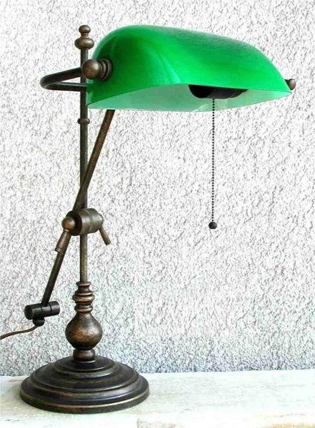 ... Soffitta: Lampada Ministeriale 52 cm ottone brunito verde a stelo