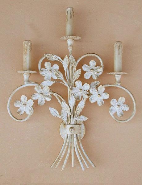 Antica soffitta applique bouquet ferro 3 luci parete fiori elegante bianco oro - Applique da parete in ferro battuto ...