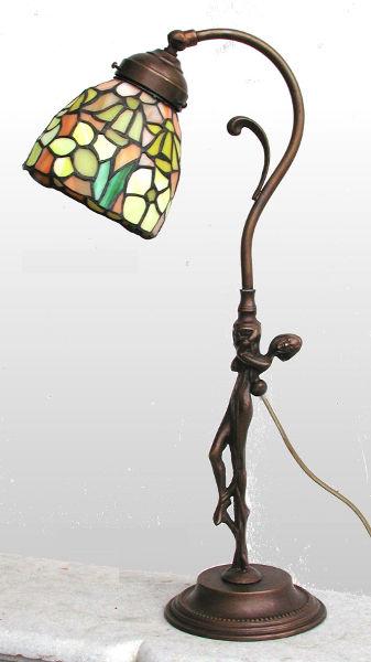Antica Soffitta Lampada Tiffany 52cm Abbraccio Liberty Vintage Statua Ottone