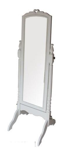 Antica soffitta specchio cornice bianca specchiera da for Specchio girevole da terra