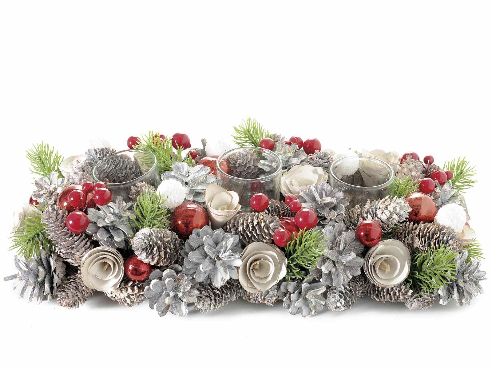 Antica soffitta centrotavola natalizio pigne addobbi for Centrotavola natale pigne