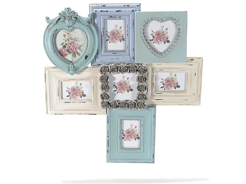 Antica soffitta portafoto cornice quadro 7 posti shabby chic da appendere - Cornici da parete ikea ...