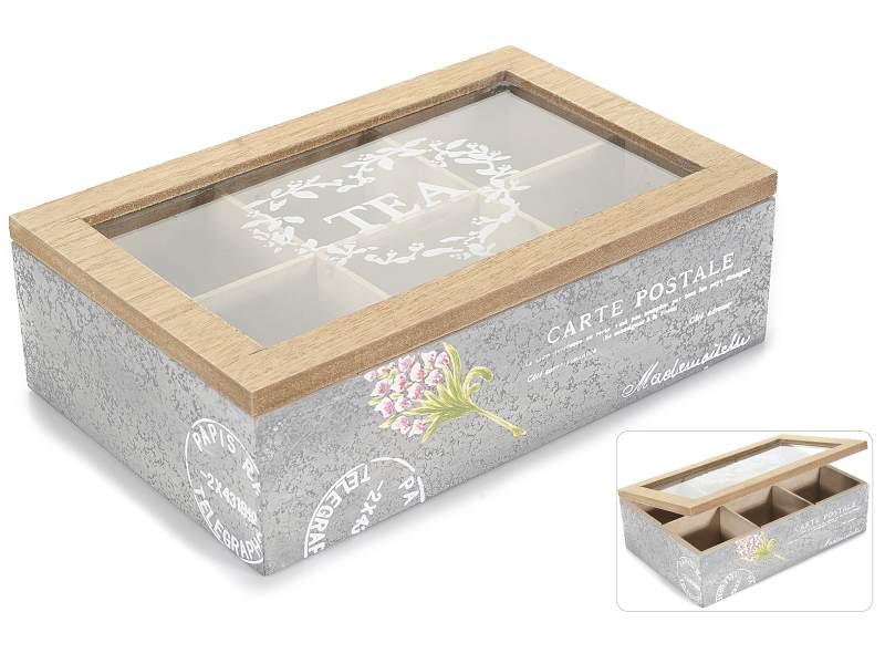 Antica soffitta scatola porta t in legno 6 scomparti - Scritte in legno shabby ...