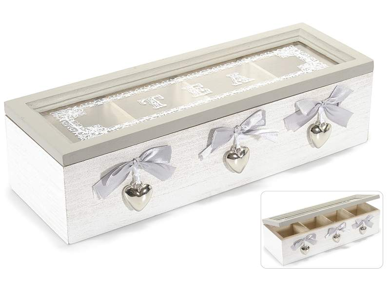 Antica soffitta scatola porta t tea legno vetro shabby chic cuori bianco - Porta per soffitta ...