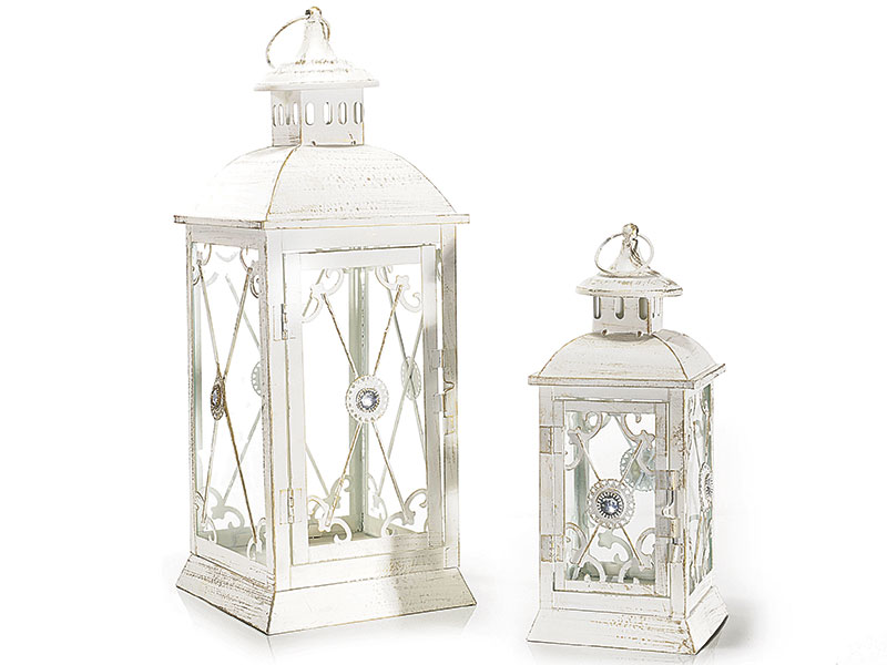 Antica soffitta set 2 lanterne metallo bianco ferro - Lanterne portacandele ...