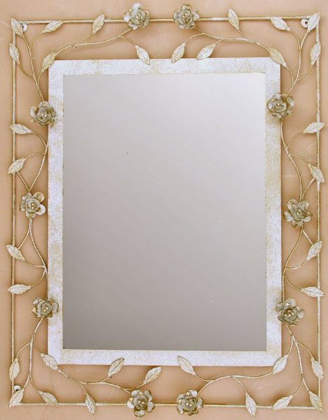 specchio 88cm in ferro avorio bagno country shabby chic specchio in ...
