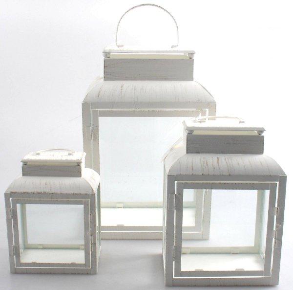 Antica soffitta set 3 lanterne 37cm shabby chic - Lanterne portacandele ...