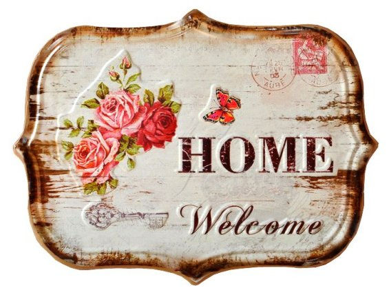 * Targa in latta shabby chic welcome home country rose vintage