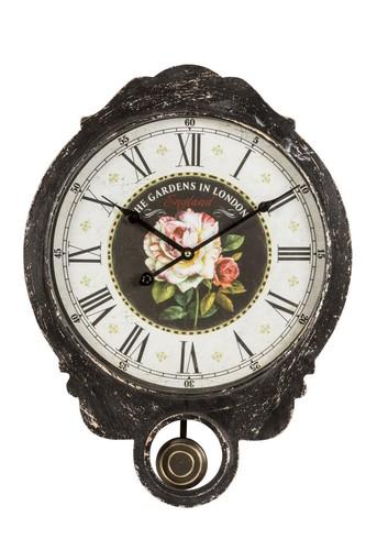 ... Soffitta: Orologio da parete pendolo shabby chic rosa fiore vintage