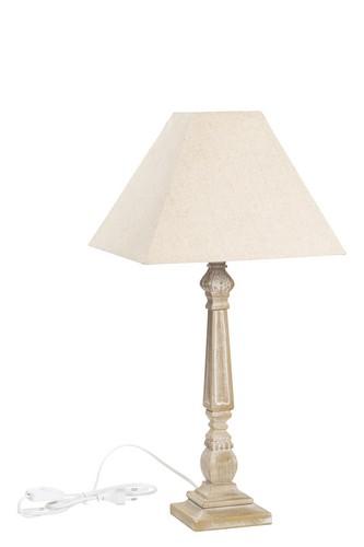 Lamapda da tavolo shabby colore beige, in legno, con paralume. Misure ...