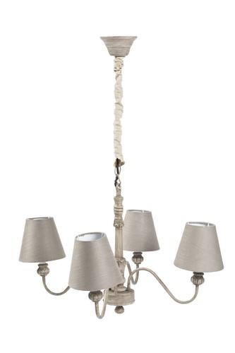 disegno lampadari Tessuto : Antica Soffitta: Lampadario shabby chic grigio in legno paralume 4 ...