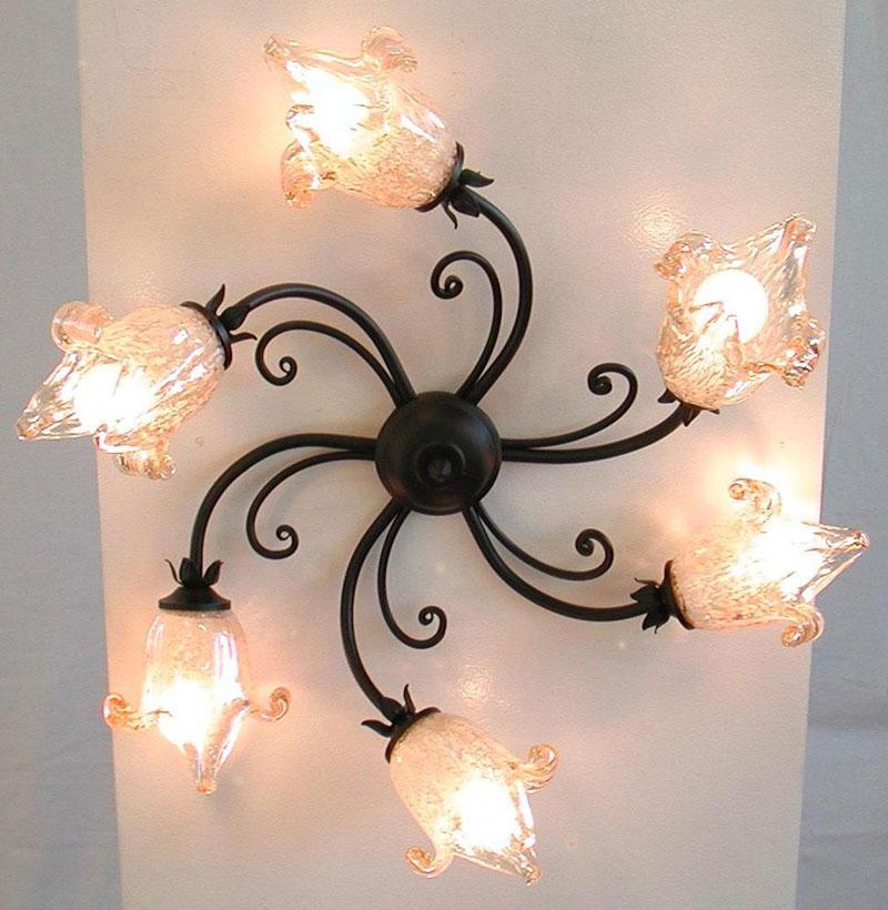 Plafoniera 55cm Emozioni lampadario nero ruggine ferro battuto