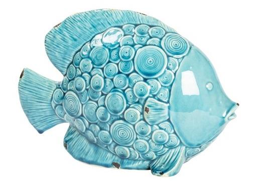 Antica Soffitta Statua Statuina Pesce Ceramica Cerchi Soprammobile