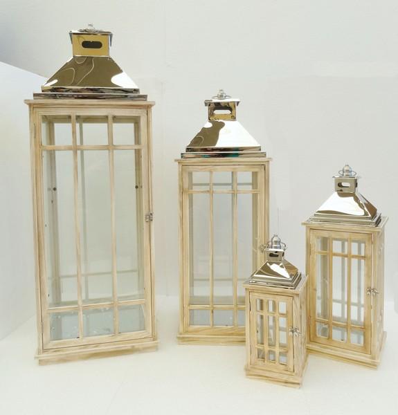Antica soffitta set quattro lanterne legno metallo lucido for Lanterne d arredo
