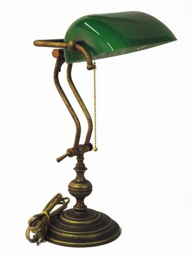 Antica Soffitta: * Lampada Ministeriale 45cm da scrivania ottone brunito verde