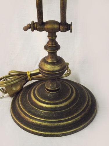 Antica Soffitta Lampada Ministeriale 45cm Da Scrivania Ottone Brunito Verde