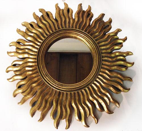 Antica soffitta specchio barocco 47cm tondo sole dorato foglia oro vintage - Specchio a forma di sole ...