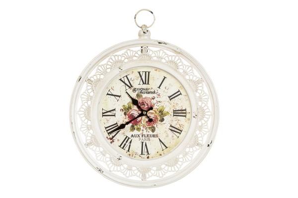 Antica soffitta orologio da parete in ferro bianco fiori for Orologio shabby chic