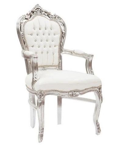 Antica soffitta poltrona sedia barocco argento bianco for Sedia antica con braccioli
