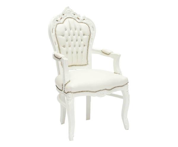 Antica soffitta poltrona sedia barocco bianca in legno for Poltrone shabby