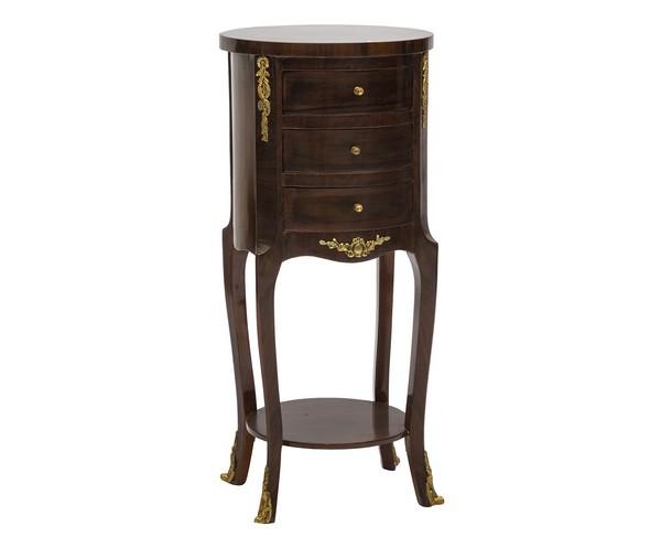 Tavolino rotondo in legno noce 3 cassetti tavolo salotto Impero