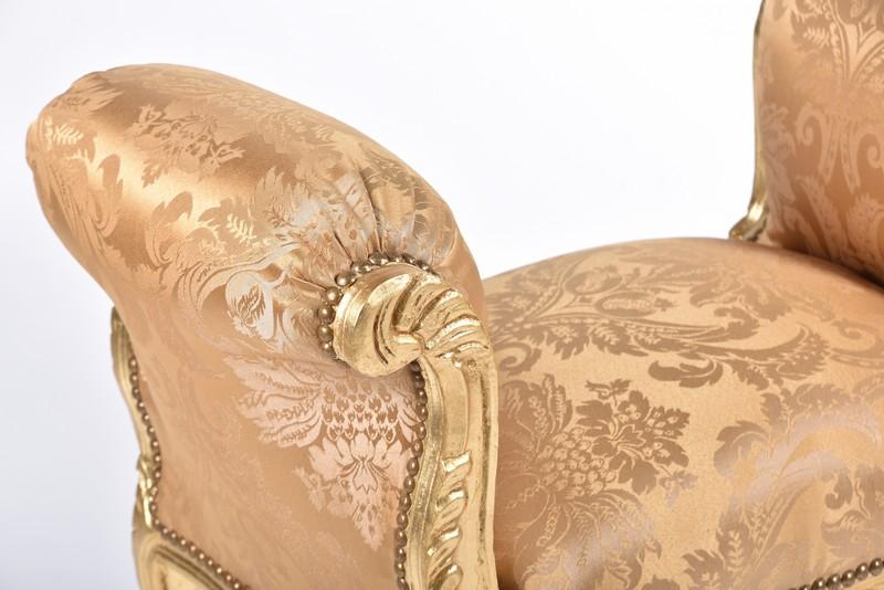 Antica soffitta divanetto poltrona divano legno barocco oro tessuto damascato - Divano tessuto damascato ...
