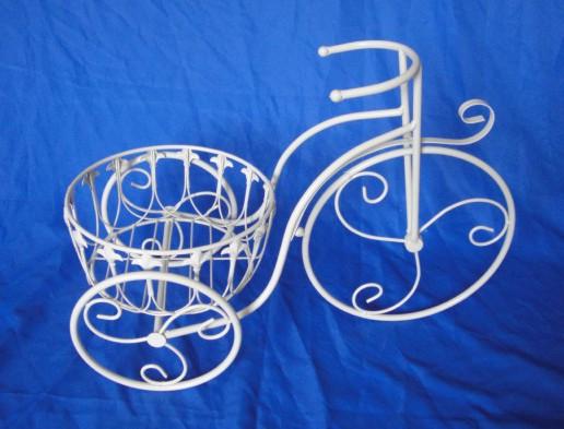 Antica soffitta portavasi bicicletta 52cm ferro fioriere - Portavasi in ferro ...