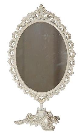 Antica soffitta specchio da appoggio tavolo liberty basculante vintage avorio - Specchio da appoggio ...