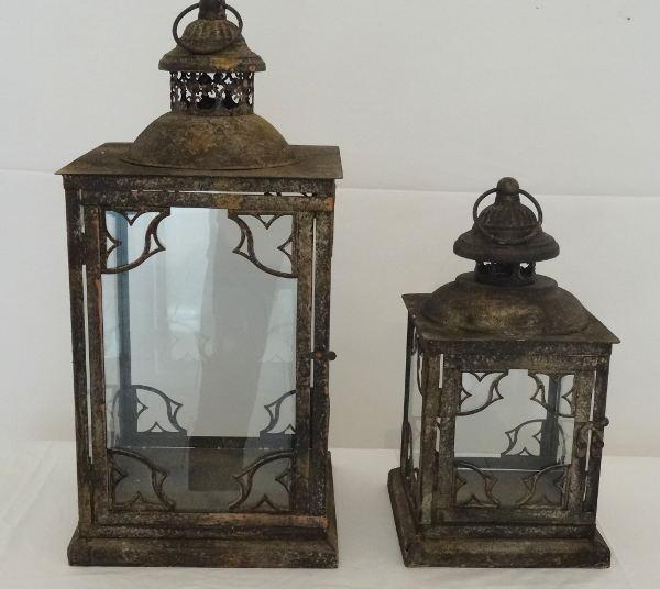 Antica soffitta set lanterne lampade lisce marrone ferro vetro shabby chic - Lanterne da esterno in ferro battuto ...