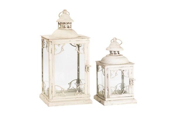 Antica soffitta set lanterne lampade lisce bianche ferro for Lanterne bianche