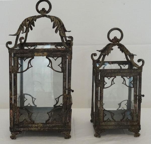 Antica soffitta set lanterne lampade marrone ferro vetro - Lanterne da esterno in ferro battuto ...
