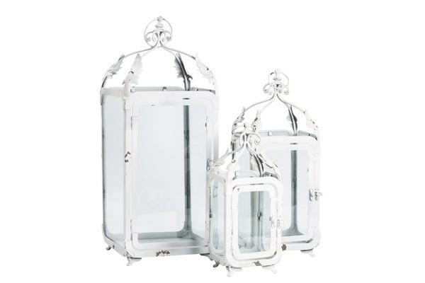 Antica soffitta set 3 lanterne lampade bianche ferro for Lanterne bianche
