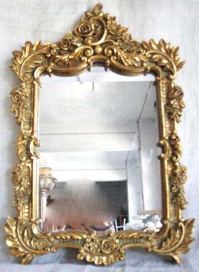 ... Soffitta: Specchio barocco 31cm specchiera dorato da parete foglia oro