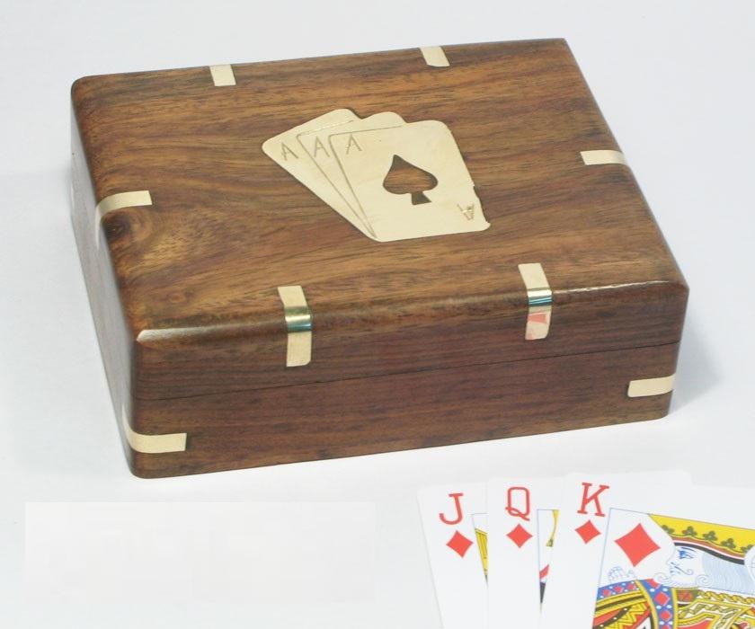 Antica soffitta carte da poker scatola legno mazzo gioco for Mazzo per esterni in legno