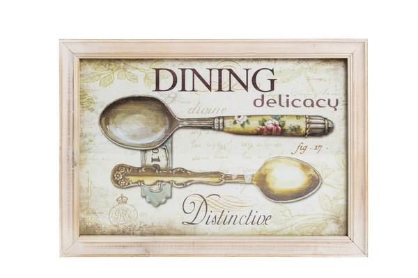 Pannello in legno con disegno due cucchiai e scritta