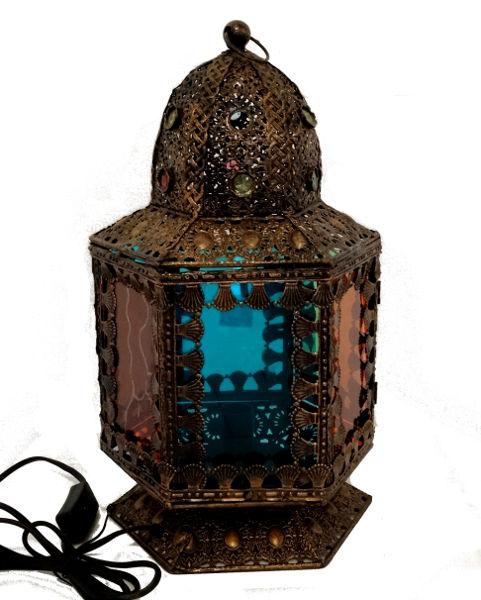 Antica Soffitta: Lampada lanterna 40cm colorata oriente tavolo comodino