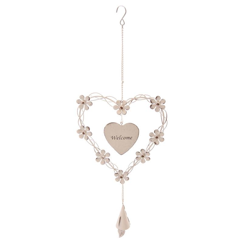 cuori di legno con fioru : Antica Soffitta: Decorazione fiori cuore bianco ferro casa shabby chic ...