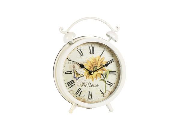 Orologio in ferro a forma di sveglia con disegno girasole e farfalla e ...