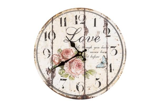 Orologio piccolo shabby con disegno rose e scritta