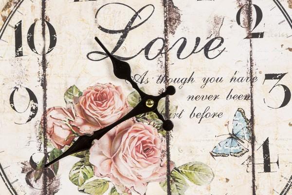 Antica Soffitta Orologio Da Parete Piccolo Shabby Chic Love Rose Fiori