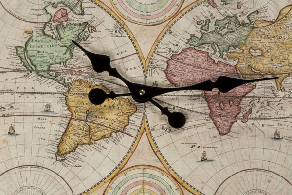 Orologio rettangolare grande con disegno mappamondo anticato cornice ...