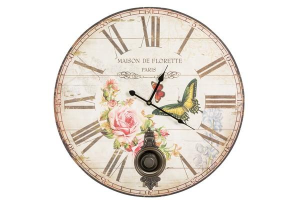 ... Soffitta: Orologio da parete pendolo shabby chic natura rose farfalle